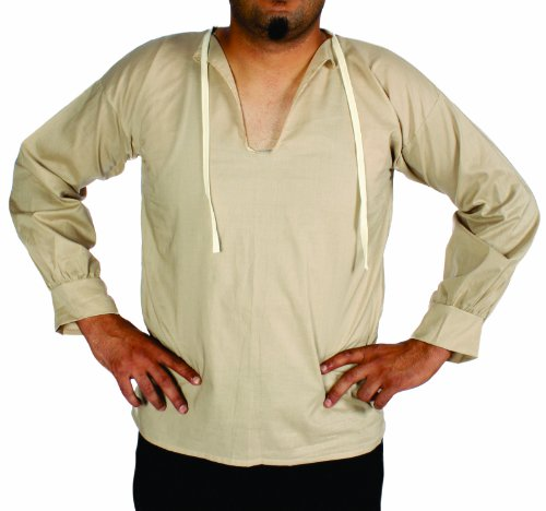 [Alexanders Costumes Muslin Peasant Shirt, Natural, Medium] (Medieval Mens Costumes)