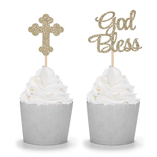 24 Counts Sparkly God Bless and Baptism Cupcake Toppers Christian Party Decorations ()
