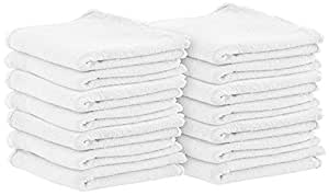 Shop Towels (Pack of 25, 13 X 13 Inches) Commercial Grade Machine Washable Cotton Washcloths White Shop Rag - Perfect for Auto Mechanic Work and Bar Mop by Utopia Towel