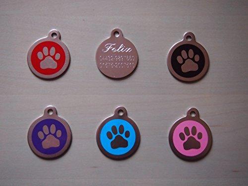 2 x Edelstahl Hundemarken/ Hundemarke mit Befestigungsring inclusive Diamant- Gravur nach Ihren Wünschen Motiv