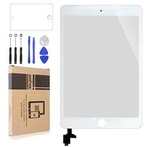 Srjtek Screen Replacement for IPad Mini 3 Touch Screen Digitizer A1599 A1600,Replacement Parts with IC Chip and Camera Holder