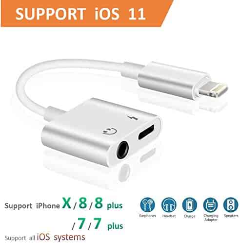 Lightning to 3.5mm AUX Headphone Jack Audio Adapter iPhone 7/8 / X / 7 Plus / 8 Plus (Support iOS 10.3, iOS 11), Cone 2 in 1 Lightning Adapter Charger (White)