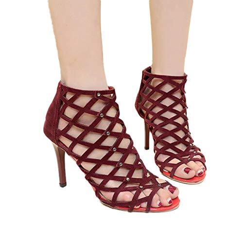 Hauts Antidérapant À Femmes Vin Toe Heels Open Pour High Et Zyueer Sandales Talons qBz4fw1