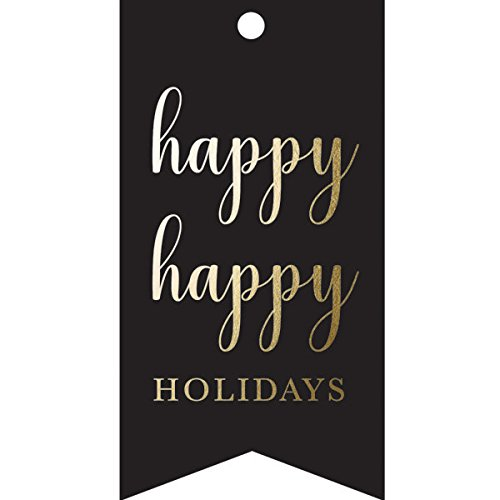 Graphique Glam Gift Tags, 16 Embellished Gold Foil Holiday Gift Tags with Baker's Twine and