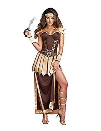 Dreamgirl Women's Remember The Trojans Dress, Brown/Gold, Small