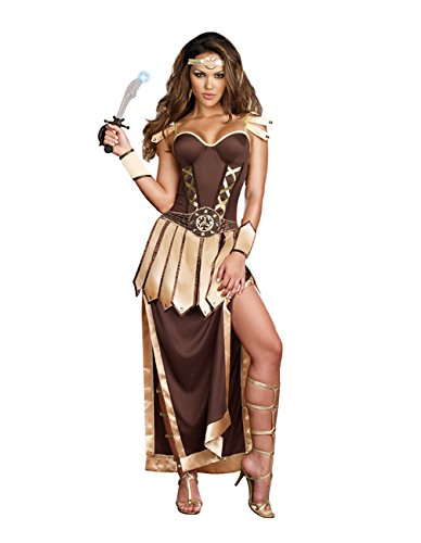 Roman Soldier Womens Costume (Dreamgirl Women's Remember The Trojans Dress, Brown/Gold,)
