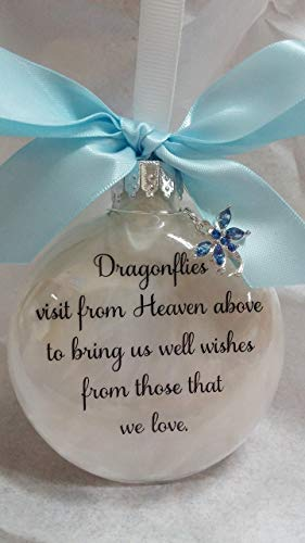 Dragonfly Memorial Christmas Ornament - Dragonflies visit from Heaven - w/Blue Crystal Charm (Crystal Baubles Christmas)