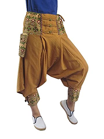 Baggy Boho Aladin Hippy Yoga Harem Wellness Cotton Fisherman Pants for Women(Small, Light brown) - Goa Light