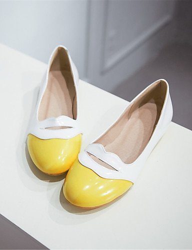 Talon chaussures us8 Appartements Eu39 Pdx Bout robe Femme Cuir Yellow rose Noir Cn39 Rond décontracté Verni Uk6 Extérieur jaune Plat a1Iax8Cdwq