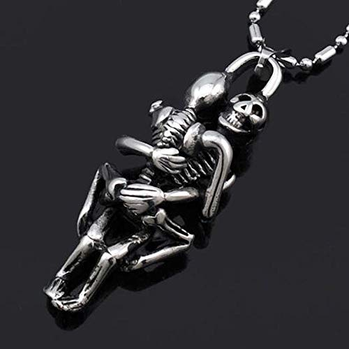 Hugging Fashion Double Skeleton Skull Necklace Skull Pendant Stainless Steel ()