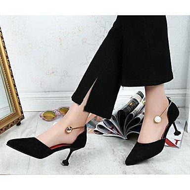 Negro 2 confort casual 3 CN36 talón Verano Tacones US6 4 mujer confort Primavera 2A imitación Amarillo EU36 UK4 Stiletto vestimenta PU Perla pulg qn0ZS7