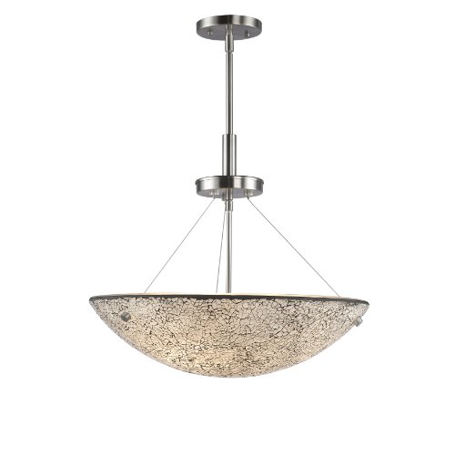Woodbridge Lighting 13620STN-M50WHT 3-Light Dish Pendant, 17-1/2-Inch by 51-1/2-Inch Maximum, Satin Nickel