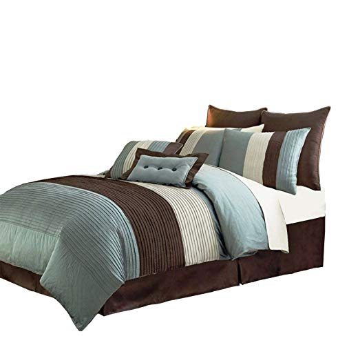 Chezmoi Collection 8-Piece Luxury Stripe Duvet Cover Set, Blue/Beige/Brown, Queen ()