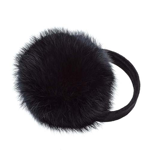 Surell Long Hair Rabbit Fur Earmuff with Velvet Band, Winter Fashion Ear Warmers, Perfect Elegant Women's Cold Weather Luxury Gift (Black)