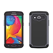 Samsung Galaxy Core LTE SM-G386W Rugged Impact Heavy Duty Dual Layer Shock Proof Case Cover Skin From theMobileArea - Grey