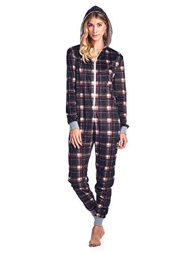 Womens Fleece Footed Pajamas (Ashford & Brooks Women's Mink Fleece Hooded One Piece Pajama Jumpsuit - Black White Plaid - X-Large)