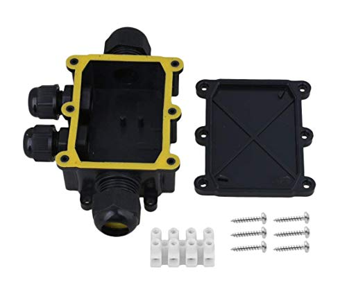 Box Junction Underwater (Karcy 4 Way Black Cable Connector IP68 Waterproof Junction Box with Terminal)
