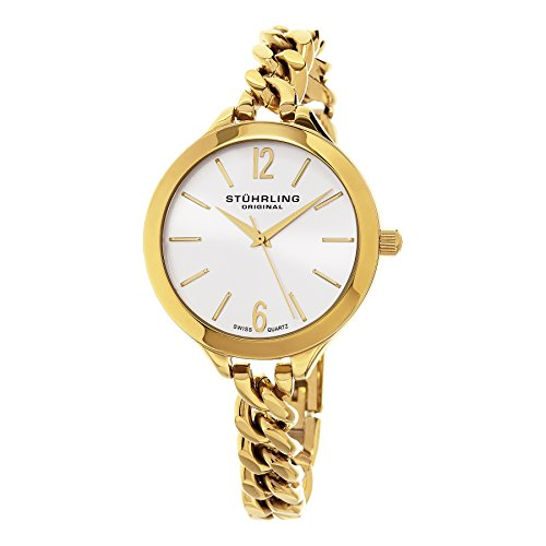 Stuhrling Original Women's 624M.02 Vogue Swiss Quartz Gold Tone Link Bracelet Watch