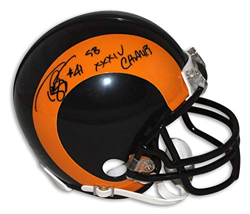 (Todd Lyght St. Louis Rams Autographed Riddell Replica Mini Helmet Inscribed SB XXXIV Champs - Certified Authentic Signature)