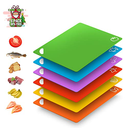 Extra Flexible Plastic Cutting Boards for Kitchen Dishwasher Safe Labeled Color Coded Silicone Cutting Mats Set of 6