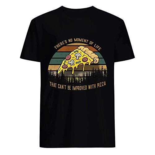 USA 80s TEE There's No Moment of Life That Can't Be Improved with Pizza Shirt Black