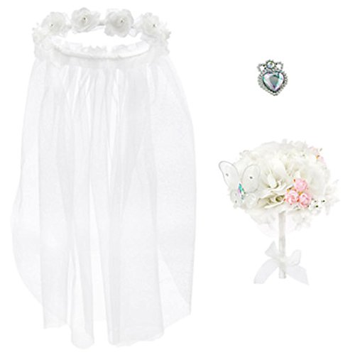 Disney Store Deluxe Cinderella Wedding Costume Accessory Set 3 Piece Ring Bouquet - Authentic Halo Costumes