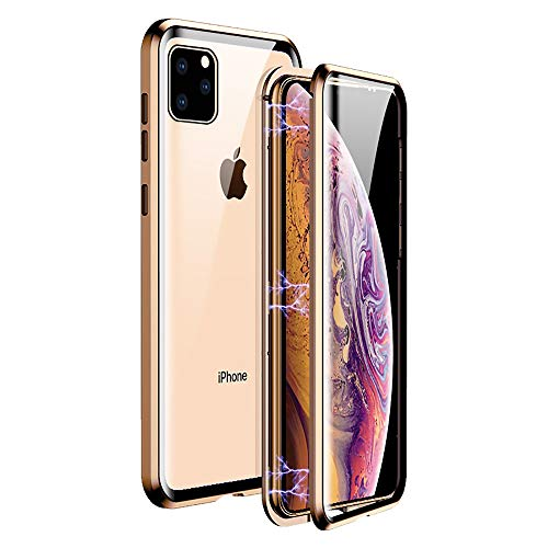 IP 11 Pro Max Magnetic Case Compatible with Apple iPhone 11pro 11max Phone Glass Cover Clear iPh11 promax i11 Folio Coque 11xmax Dual Layer Bumper 6.5 Inch (Coque Iphone)