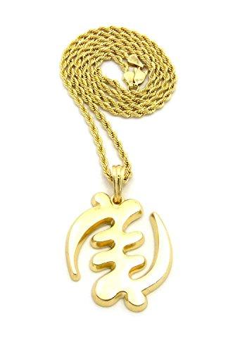 Polished Adinkra Symbol Gye Nyame Except For God Pendant w/ Gold-Tone Necklace - 18