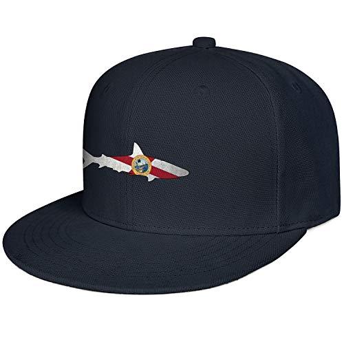 Fashion Sun Cap Mens Florida Flag Shark Outline Navy_Blue Adjustable Cool Outdoor Unisex Hats -