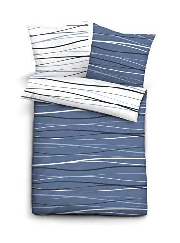 biberna 0020722 Bettwäsche Garnitur mit Kopfkissenbezug Baumwoll-Seersucker 1x 135x200 cm + 1x 80x80 cm marine