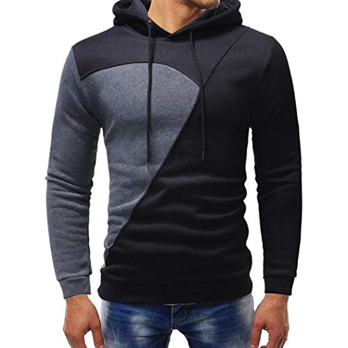 - kaifongfu Hoodie Tops,Men's Solid Color Patchwork Long Sleeve Sweatshirt Outwear Top Blouse (Gray,3XL)