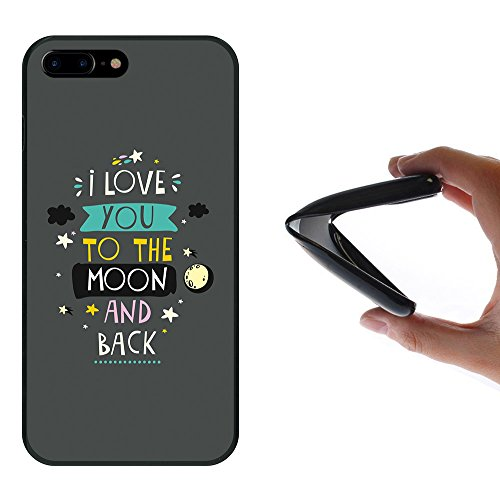 iPhone 8 Plus Hülle, WoowCase Handyhülle Silikon für [ iPhone 8 Plus ] Satz - I Love You To The Moon And Back 2 Handytasche Handy Cover Case Schutzhülle Flexible TPU - Schwarz
