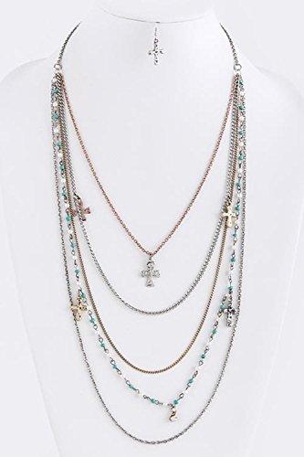 KARMAS CANVAS CROSS CHARM TINY BEAD TIERED NECKLACE SET (Gold/Silver) (Custom Costume Hip Hop Jewelry)