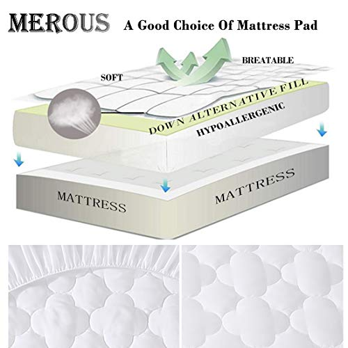 MEROUS Twin Mattress Pad Hypoallergenic Quilted Fitted Cooling Mattress Cover with Deep Pocket (8\