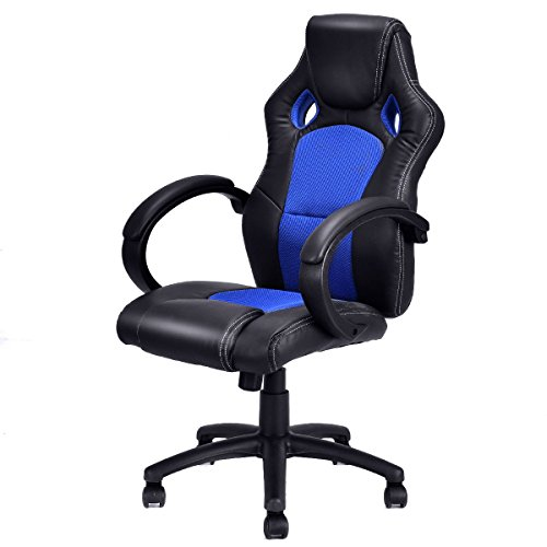 Giantex High Back Race Car Style Bucket Seat Office Desk Chair Gaming Chair (Blue)