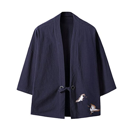 (KAMUON Women's Cotton 3/4 Sleeve Embroidered Cardigan Kimono Jackets Shirt Blouse (US M = Asian Tag XL, Navy))