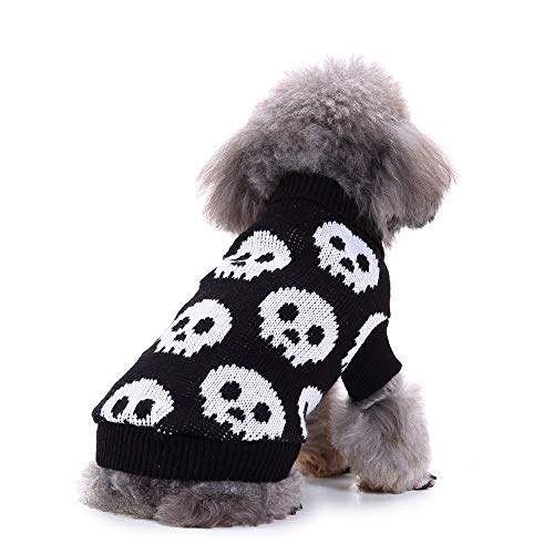 Queenmore Halloween Pet Dog Clothes, Skeleton Knit Sweaters Dogs Party Knitwear Skull Apparel -