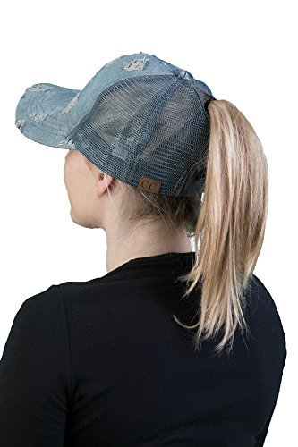 Design Womens Cap (H-211-873 Messy Bun Denim Trucker Hat - Shredded Denim)