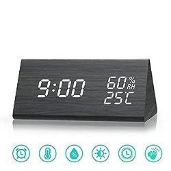 Digital Alarm Clock, Adjustable Brightness Control Desk Wooden Alarm Clock, Display Time Temperature USB/Battery Powered for Bedroom, Office, Kids- Black