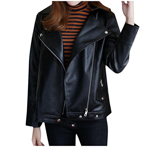 Zimaes-Women Oversized Classic Notch Collar Leather Coat Jacket Black (Notch Collar Leather)
