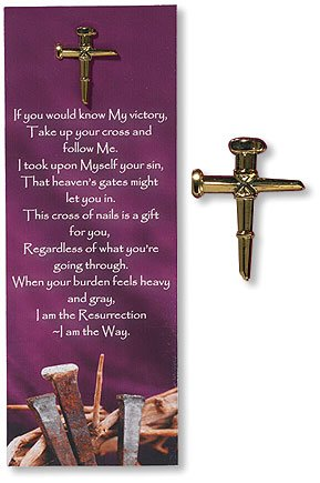 Way Bookmarks - Religious Gift Nails of the Cross Follow Me I Am the Way Carded Lapel Pin with Bible Bookmark