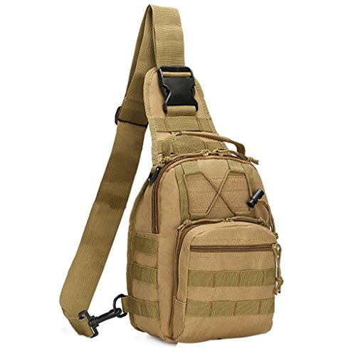 Qcute Oxford Fabric Multifunctional Unisex Chest Shoulder Satchel Bag,Tactical Sling Pack/Camping Shoulder Pack,Fit for iPod, iPad,iPhone 6 6Plus,MP3,S6 Android Smart Phone (Khaki) ()