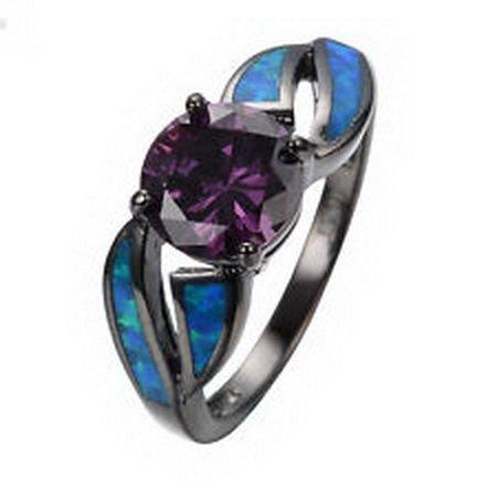 [jacob alex ring Jewelry Opal Purple Ring Size 9 Topaz Women's 10Kt Black Gold Filled Wedding] (Classic Playboy Bunny Costume Black)