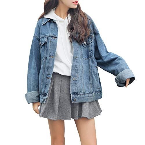 Denim Jacket for Women Long Sleeve Relaxed Plus Cowboy Denim Trucker Jacket Coats Blue Large