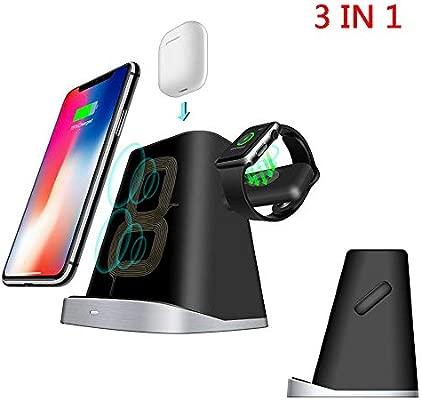 MINGRONG Soporte de Cargador inalámbrico para iPhone Apple Watch, estación de Carga y Carga Cargador para Apple Watch Series 4/3/2/1 3-en-1 Soporte de ...
