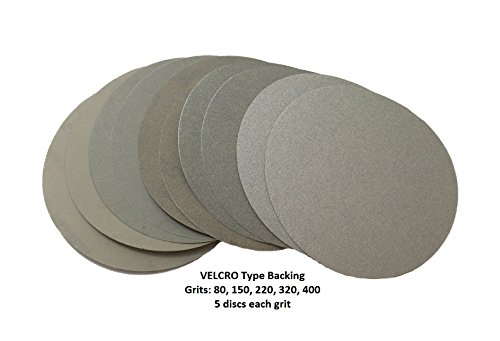 World Abrasive 5 No Hole Hook Loop Velcro Variety Pack - 5 Discs Each of Grits 80 150 220 320 400