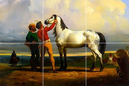 - Gray Horse fair Pony Equestrian Painting Tapestry Ceramic Tile Mural backsplash Home Decor 12
