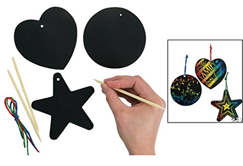 Fun Express Magic Color Scratch Ornaments Craft Kit (24 Piece) Toy -