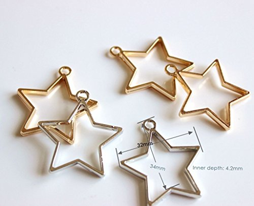 Open back bezel settings for resin craft, Star 10pcs white K and Kc gold, open bezels for resin crafting, backless metal frame, Blank resin charms to embed organics, beads etc, - Metal Frames Charm