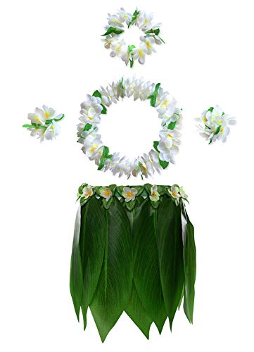 Hula Girl Costume For Adults (KEFAN Leaf Hula Skirt and Hawaiian Leis Set Grass Skirt with Artificial Hibiscus Flowers for Hula Costume and Beach Party)